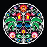 Polish floral embroidery with roosters - traditional folk pattern Stock Photos