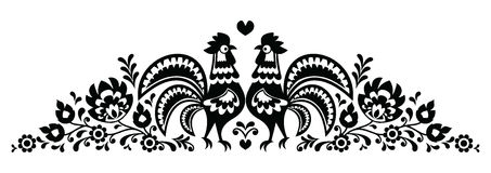Polish floral folk art long embroidery pattern with roosters - Wzory Lowickie. Monochrome traditional pattern form the region Lowicz in Poland royalty free illustration