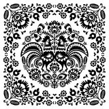 Polish floral folk art square pattern with rooster Stock Image