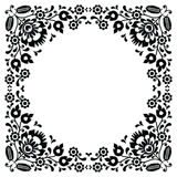 Polish floral folk black embroidery frame pattern - wzory lowickie Royalty Free Stock Images