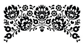 Polish floral folk embroidery black and white pattern Stock Photo