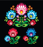 Polish floral folk embroidery pattern on black. Traditional pattern form poland - paper catouts style isolated on black background stock illustration