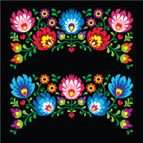 Polish floral folk embroidery patterns for card on black - Wzory Lowickie royalty free illustration