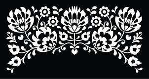 Polish floral folk white embroidery pattern on black background Stock Photos
