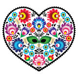 Polish folk art art heart embroidery with flowers - wzory lowickiee Stock Image