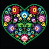 Polish folk art art heart with flowers - Wycinanki on black Stock Photos