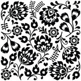 Polish folk art black pattern - Wzory Lowickie, Wycinanki Royalty Free Stock Photography