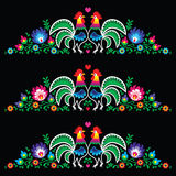 Polish folk art embroidery with roosters  Royalty Free Stock Photos