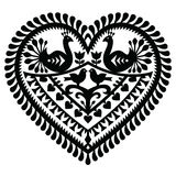 Polish folk art  heart pattern for Valentine Stock Images