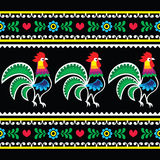 Polish folk art pattern with roosters on black - Wzory lowickie, Wycinanka. Repetitive cutout style colorful pattern on black background - Slavic, Polish folk vector illustration