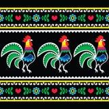 Polish folk art pattern with roosters on black - Wzory lowickie, Wycinanka Stock Photo