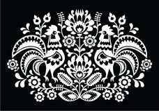Polish folk art pattern roosters on black - Wzory Lowickie, Wycinanka Royalty Free Stock Photo