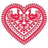 Polish folk art pattern for Valentine's Day - Wycinanki Kurpiowskie (Kurpie Papercuts). Vector folk design from the region of Kurpie in Poland - love concept vector illustration