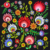 Polish folk background. Polish pattern folk, flowers background stock illustration