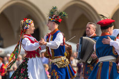 Polish folk collective on Main square during annual Polish national holiday Royalty Free Stock Photography