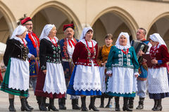Polish folk collective on Main square during annual Polish national and public holiday the Constitution Day Stock Images