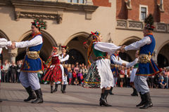 Polish folk collective on Main square during annual Polish national and public holiday the Constitution Day Royalty Free Stock Photography