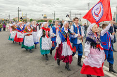 Polish folk dance ensemble GAIK are passing to the point of the performance. Saint Petersburg, Russia, May 28, 2016. Ball of Nationalities festival participants royalty free stock photography