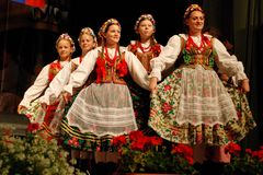Polish folk dancers at a festival Royalty Free Stock Photo