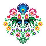 Polish folk embroidery with roosters - floral pattern Wzory Lowickie Wycinanka. Decorative traditional colorful pattern with flowers and roosters isolated on vector illustration
