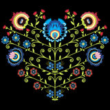 Polish folk floral pattern in heart shape on black background. Icon Royalty Free Stock Photos