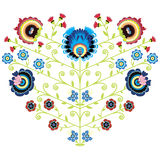 Polish folk floral pattern in heart shape on white background Stock Photos