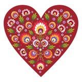 Polish folk heart. Polish folk design, pattern heart stock illustration