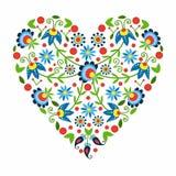 Polish folk heart. Polish pattern folk in Kaszuby - inspiration vector illustration