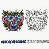 Polish folk ornament, decoration design on Cup, clothes floral design flowers vector illustration