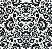 Polish folk seamless pattern in black and white Stock Photo