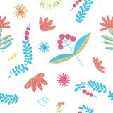 Folklore herbal background seamless flowers pattern royalty free illustration