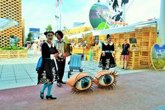 Polish folklore singers are exhibiting at the EXPO Milano 2015. Royalty Free Stock Photos