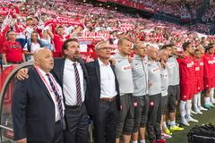 Polish football coach staff Stock Images