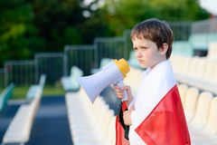 Polish football fan - little boy with megaphone Stock Photography