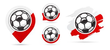 Polish football vector icons. Soccer goal. Set of football icons. stock illustration