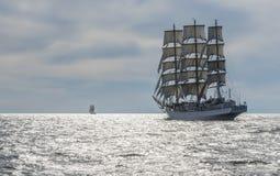 Polish fullrigger Dar Mlodziezy under sail Stock Photos