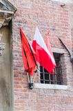 Polish and Gdansk flag in old town of Gdansk after death of Pawel Adamowicz. Polish and Gdansk flag in old town of Gdansk after death of Pawel Adamowicz who was stock photography