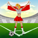Polish girl soccer fan. Illustration Royalty Free Stock Images