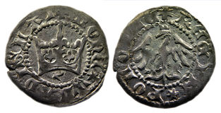 Polish halfgrosh Jagiello. Isolated old Polish medieval coin on a white background stock image