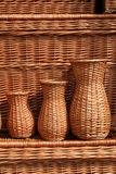Polish handicraft. Hand made wicker products. Beautiful handicraft at a market in Poland Royalty Free Stock Photo