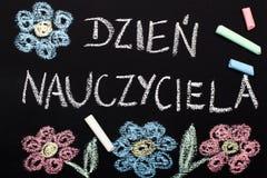 Polish Happy Teachers day card. Polish Happy Teacher`s day card. Blackboard and chalk stock images