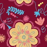 Polish herbal pattern with orange flowers decor, traditional Polish folk seamless Pattern with floral illustrations vector illustration