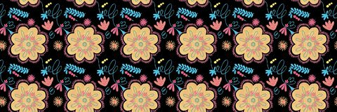 Polish herbal pattern with orange flowers decor, traditional Polish folk seamless Pattern with floral illustrations royalty free illustration
