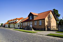 Polish houses. Old typical Polish houses (Bialystok, Poland Royalty Free Stock Photo