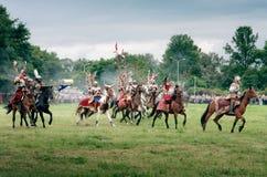 Polish Hussars. WARSAW - July 04: Polish Winged Hussars defeat Russians - Battle of Klushino (KLUSZYN) 1610 - reenactment - July 04, 2010 in Warsaw, Poland Stock Photography