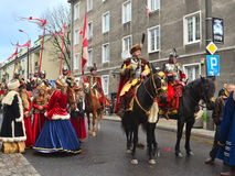 Polish hussars on a parade Stock Images
