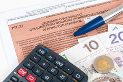 Polish individual tax form PIT-37 Royalty Free Stock Photo