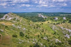 Polish Jura region. Aerial view from castle ruins in Polish Jurassic Highland, Silesia region in Poland royalty free stock image