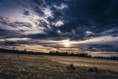 Polish Jura region. Evening landscape in Polish Jurassic Highland, Silesia region in Poland stock image