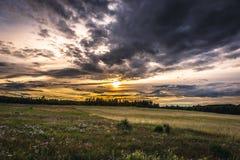 Polish Jura region. Evening landscape in Polish Jurassic Highland, Silesia region in Poland stock photo